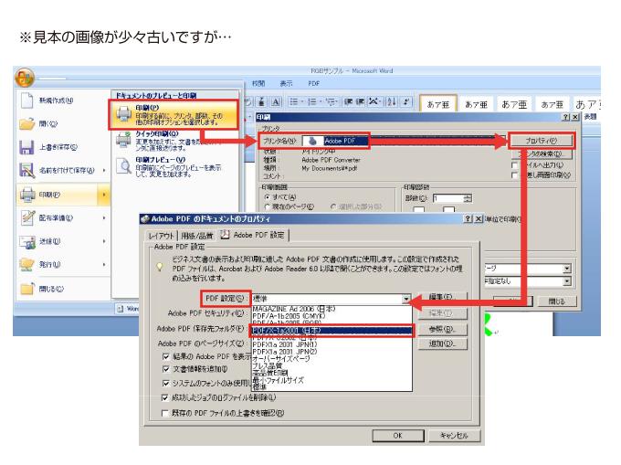 Adobe PDFプリンターを使用した保存方法