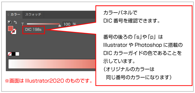 Illustrator上のDICカラー番号には末尾に「s」や「p」が付きます