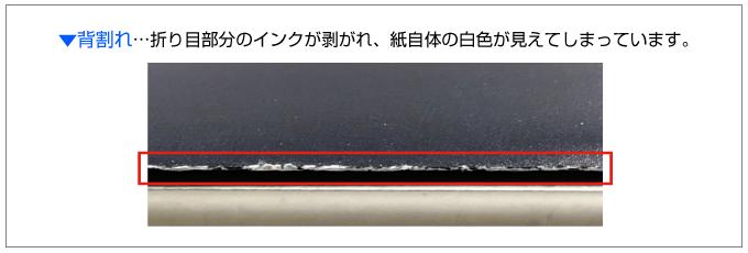 折り目のインクが剥がれて用紙の白い部分が見えてしまうことを背割れといいます