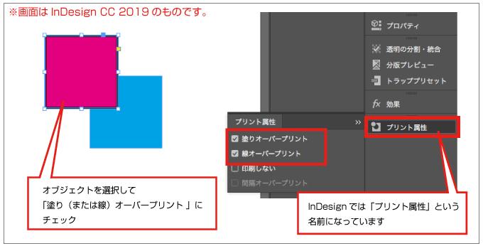 InDesignでは「プリント属性」というパネルからオーバープリントの設定ができます