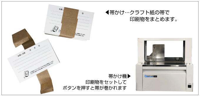 帯かけ機は印刷物を紙テープでまとめることができます